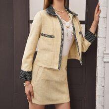 Contrast Binding Patch Pocket Tweed Jacket & Skirt Set