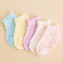 5 Paare Baby einfarbige Socken