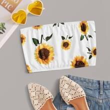 Sunflower Print Bandeau Top