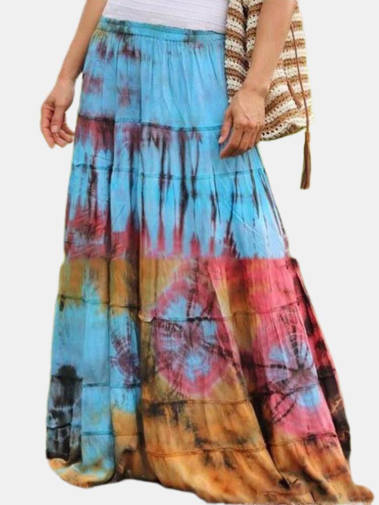 Multi-color Tie-dyed Print Elastic Waist Bohemian Maxi Skirt For Women