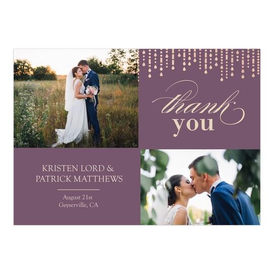 20 Pack of Gartner Studios® Personalized Metallic Garland Flat Wedding Thank You in Purple | 5