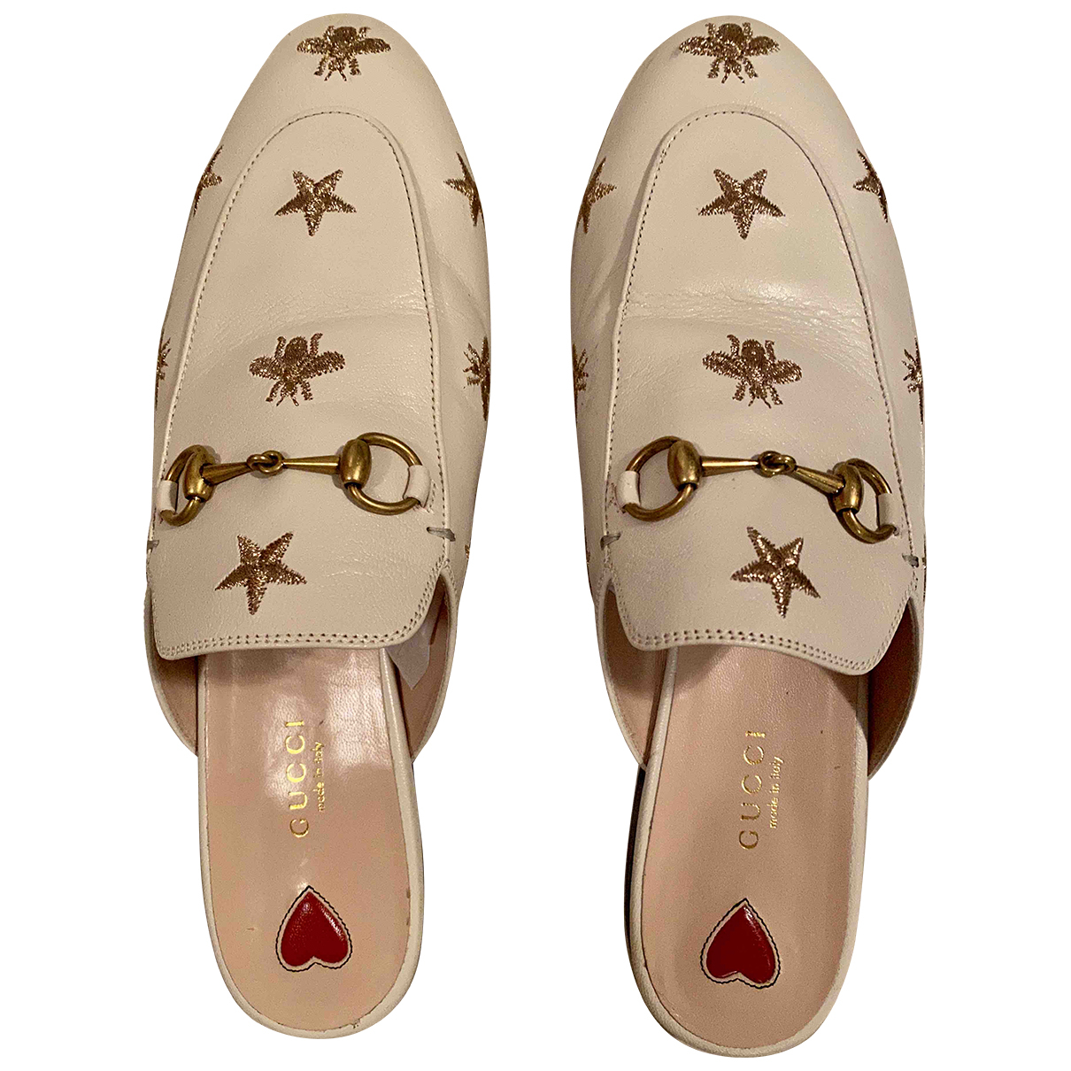 Gucci Princetown Clogs in  Weiss Leder