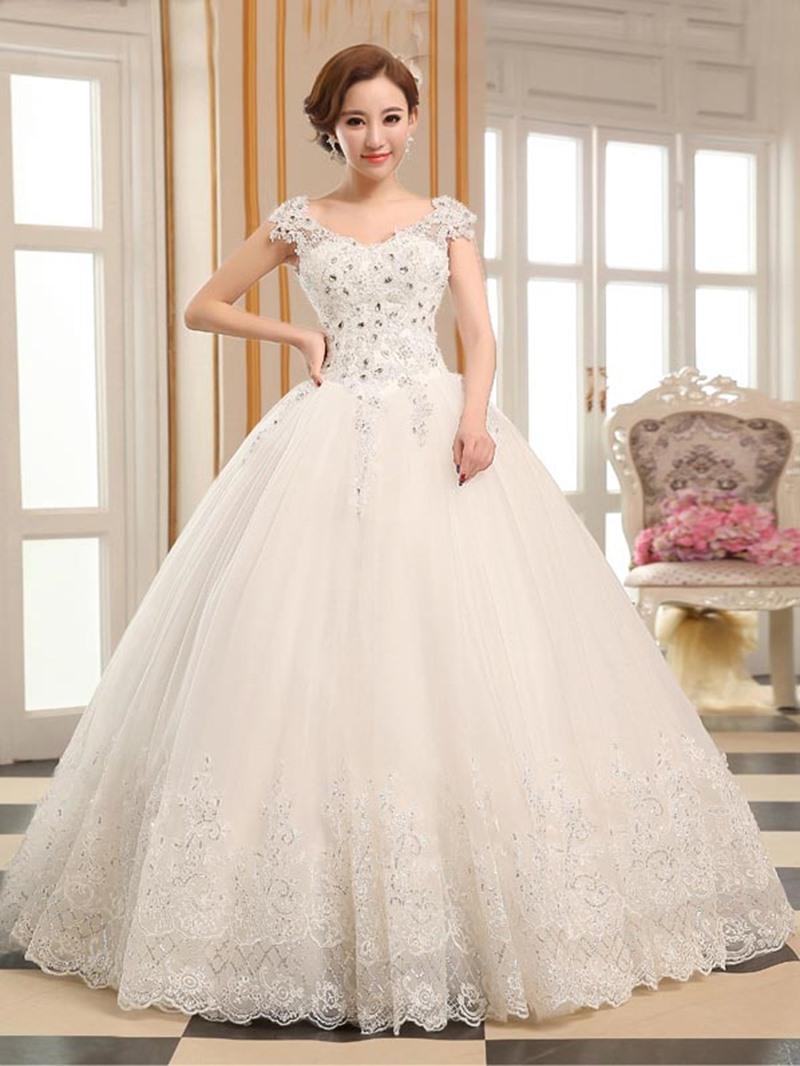 Ericdress Appliques Beading Cap Sleeves Ball Gown Wedding Dress