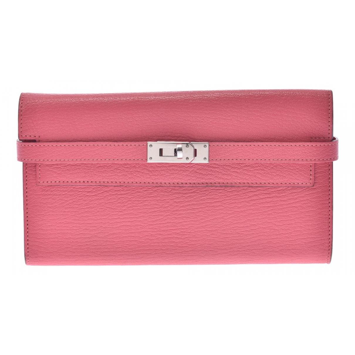 Hermes - Portefeuille Kelly pour femme en cuir - rose
