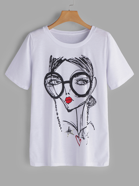 Yoins White Printed Short Sleeves T-shirts