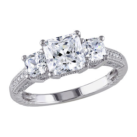 Womens 4 CT. T.W. White Cubic Zirconia Sterling Silver 3-Stone Engagement Ring, 9 , No Color Family