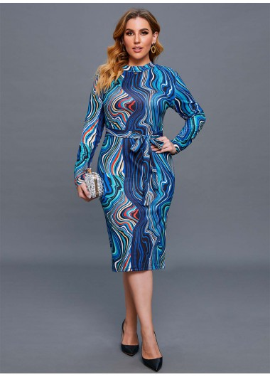 Long Sleeve Plus Size Swirl Print Dress - 4XL