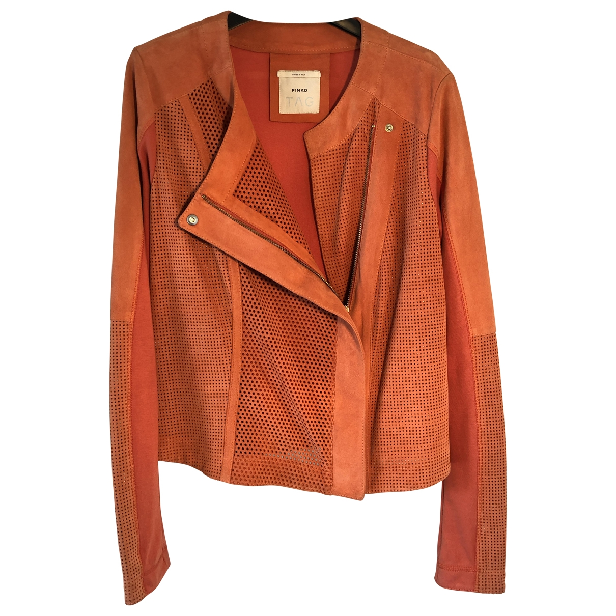 Pinko \N Orange Leather Leather jacket for Women 42 IT