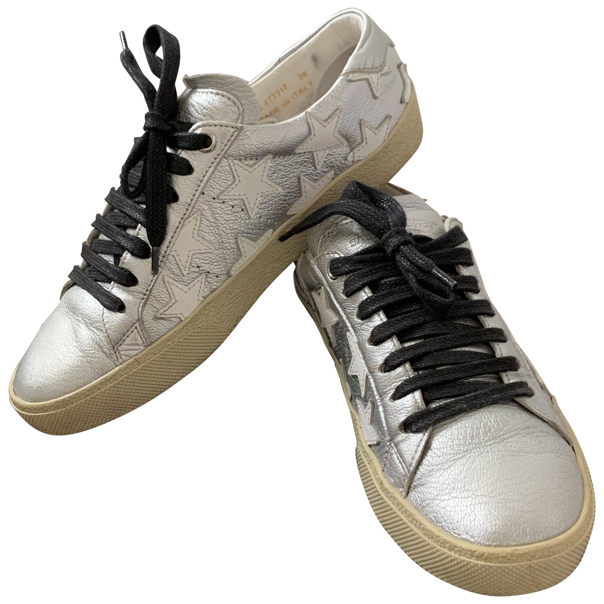Saint Laurent Court Silver Leather Trainers for Women 36 IT