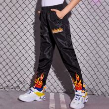 Boys Fire & Letter Graphic Wind Pants