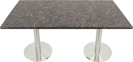 G215 30X48-SS14-17D 30x48 Tan Brown Granite Tabletop with 17 Round #304 Grade Stainless Steel Dining Height Table