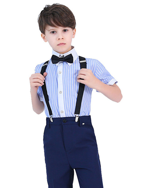 Milanoo Ring Bearer Suits Cotton Short Sleeves Pants Blue Formal Party Suits For Kids