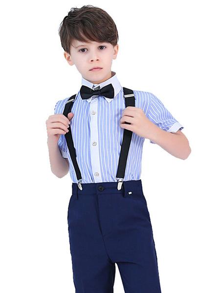 Milanoo Trajes de portador de anillo Pantalones de manga corta de algodon Trajes de fiesta formales azules para niños