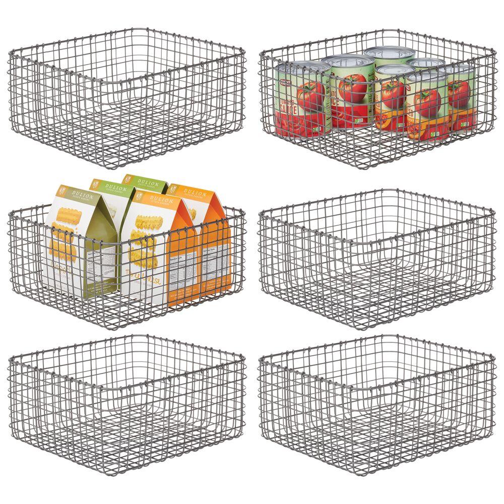Metal Wire Kitchen Pantry Storage Organizer Bins in Graphite Gray, 12