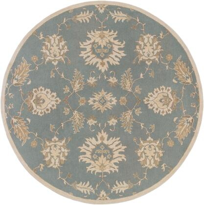 Caesar CAE-1156 4' Round Traditional Rug in Medium Grey  Ivory  Olive