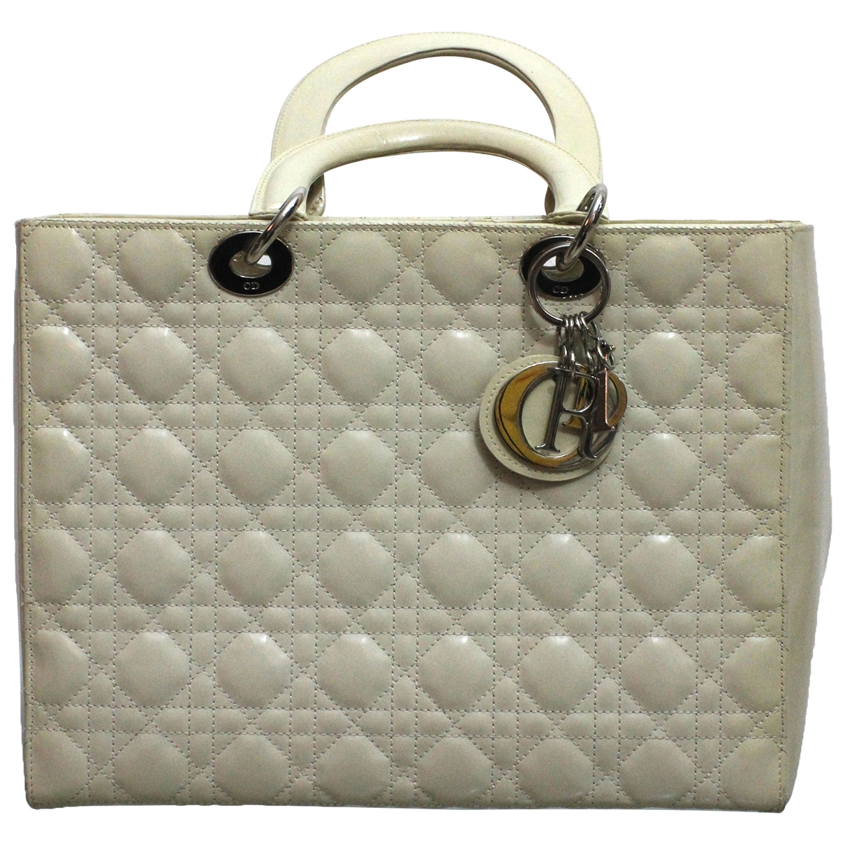 Dior Lady Dior Beige Leather handbag for Women \N