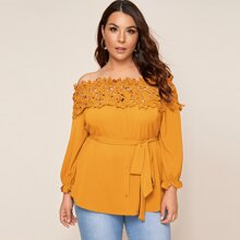 Plus Floral Applique Frill Cuff Self Belted Bardot Top