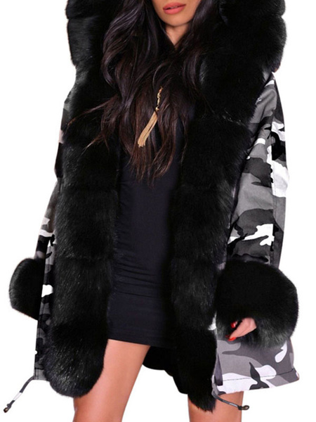 Milanoo Puffer Coats Black Hooded Zipper Long Sleeves Camouflage Casual Winter Coat Outerwear