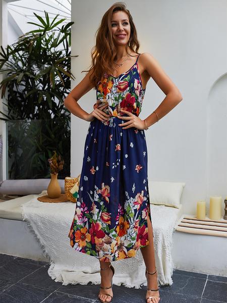 Yoins Floral Backless Slit Hem Maxi Dress