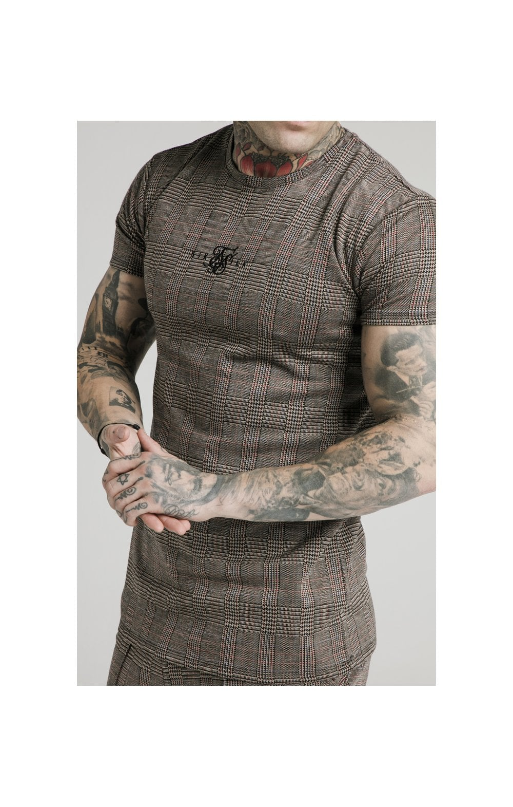 SikSilk S/S Smart Gym Tee  Brown Dogtooth MEN SIZES TOP: Small