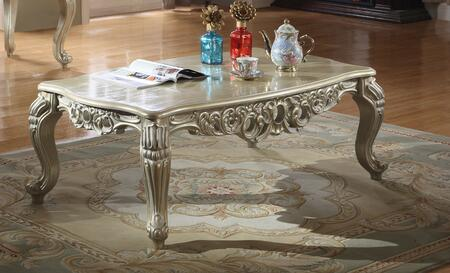 Cesar Collection 202-C Coffee Table with Wood Top  Hand Crafted Design  Cabriole Legs and Traditional Style in Silver