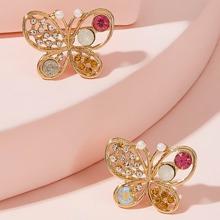 Pendientes de tachuela con mariposa grabada con diamante de imitacion 1 par