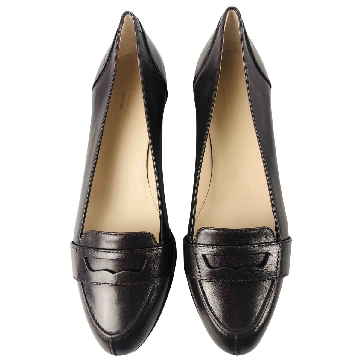 Gucci Brixton Brown Leather Flats for Women 36 EU
