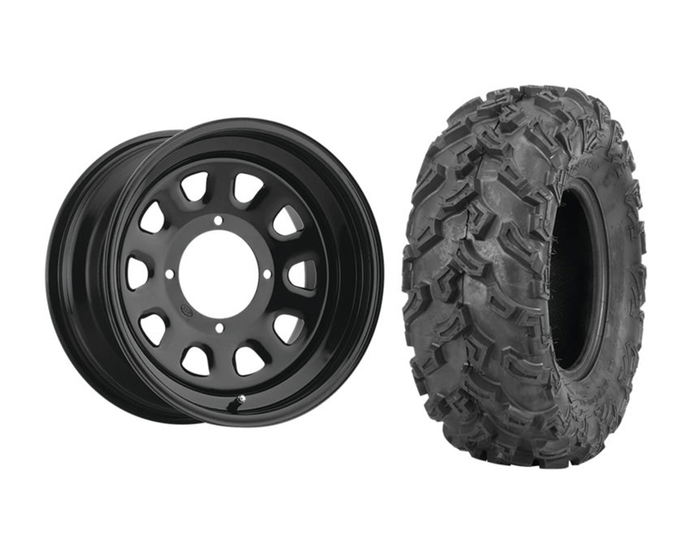 ITP KIT W371849/T608977 LEFT Delta Steel 14x7 4+3 | 4x156 w/Quad Boss QBT447 27x9-14 Wheel & Tire Package