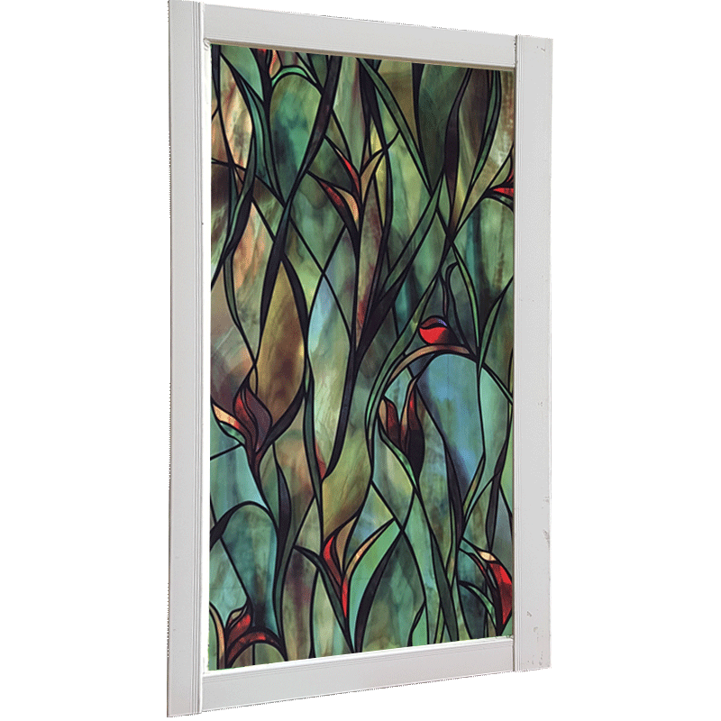 Green Plant Window Film Static Sticker Colorful Painting