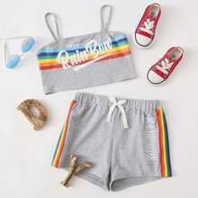 Girls Rainbow Striped & Slogan Graphic Top And Track Shorts Set