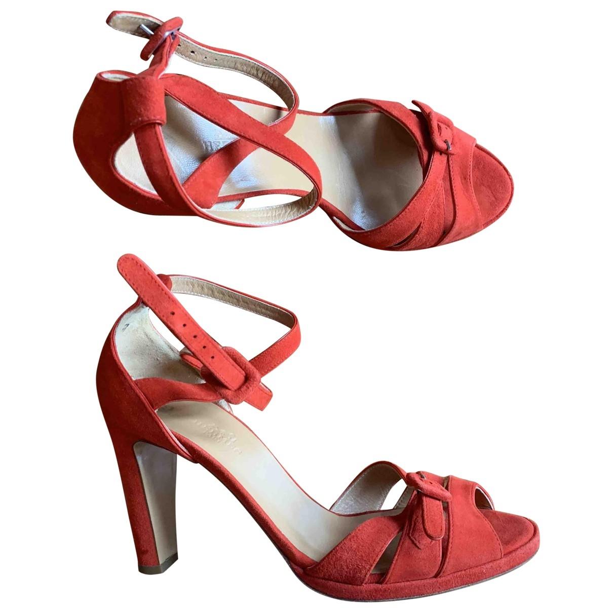 Hermes - Sandales   pour femme en suede - rouge
