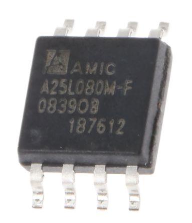 AMIC Technology A25L080M-F, SPI 8Mbit Flash Memory, 8ns, 8-Pin SOP (4)