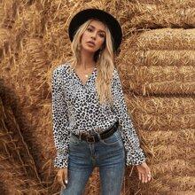 Leopard Print Flounce Sleeve Blouse