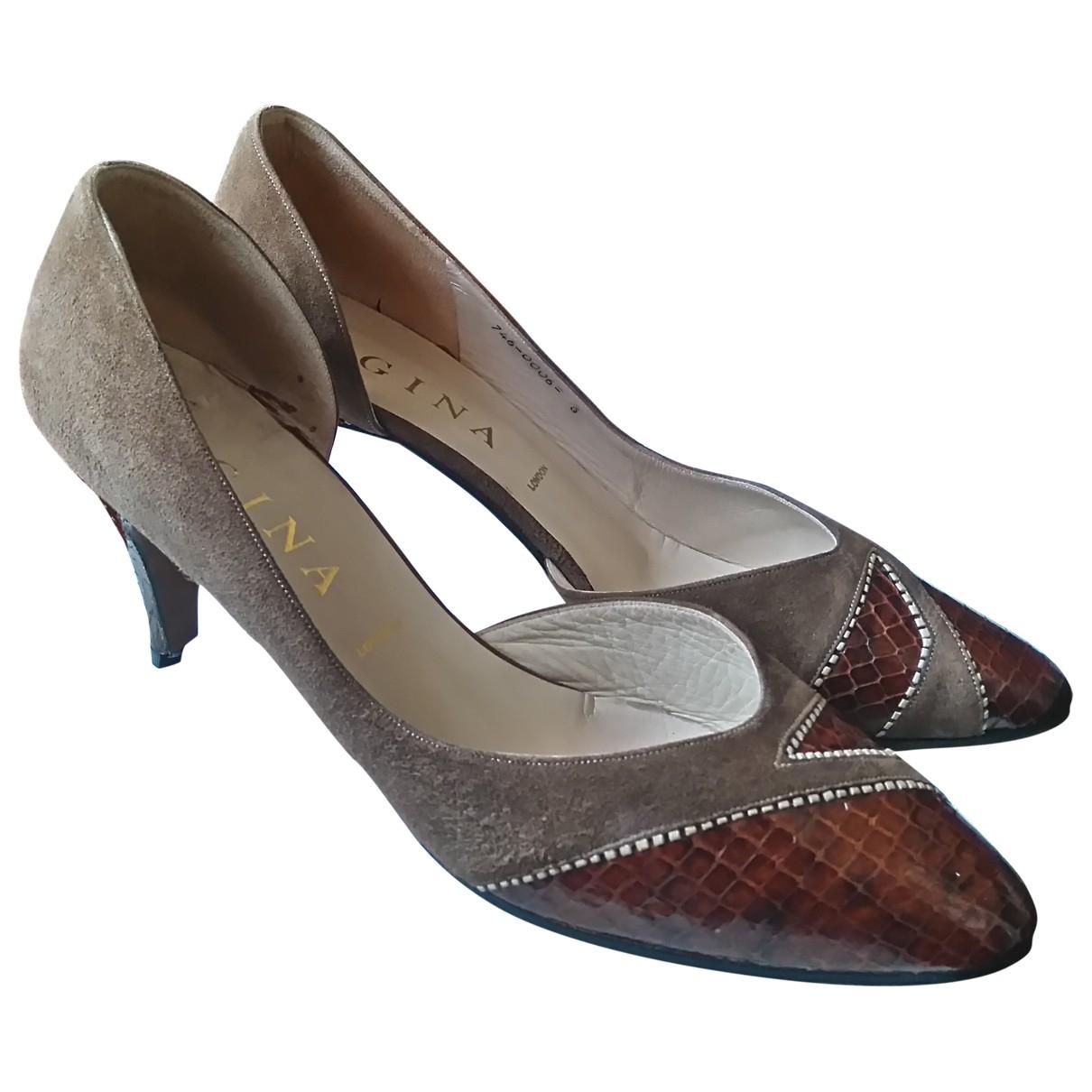 Gina - Escarpins   pour femme en python - marron