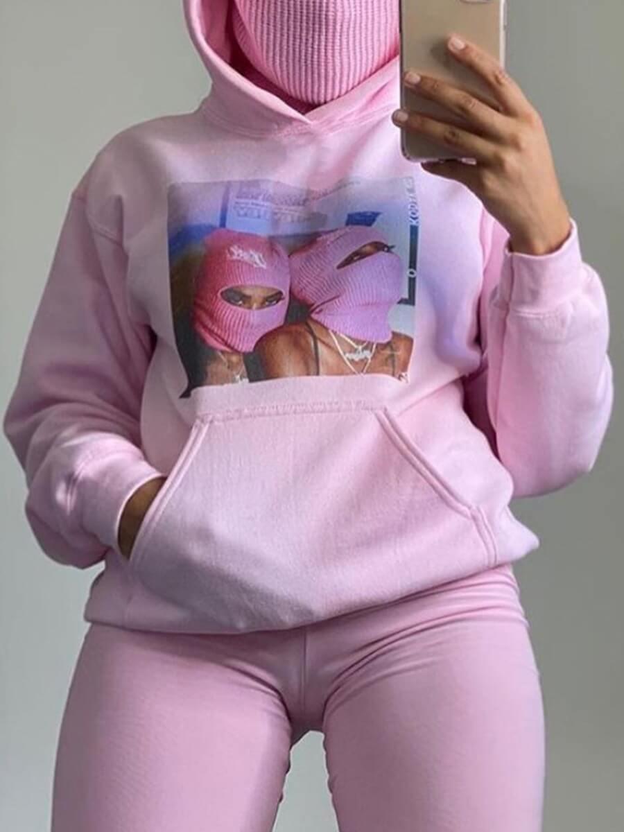 LW Lovely Leisure Hooded Collar Print Pink Hoodie