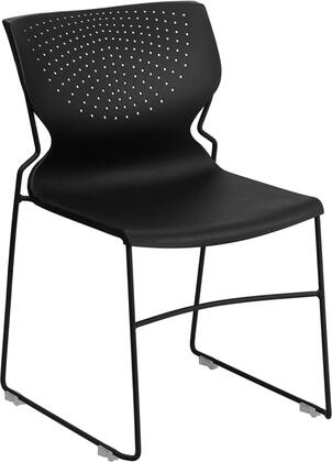 Hercules Collection RUT-438-BK-GG Stack Chair with Black Powder Coated Sled Base Frame  Ergonomically Contoured Design and Perforated Back in Black