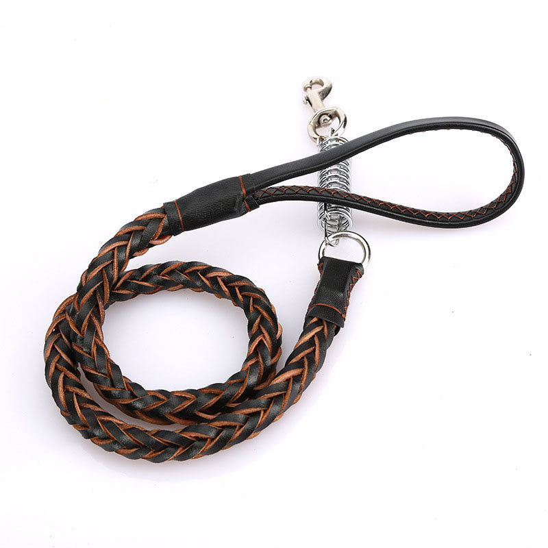 4 Colors Deluxe Leather Dog Lead Leash Pet Training Leather Leash for Medium Large Dog