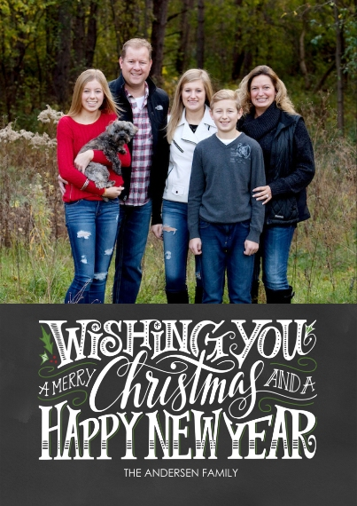 Christmas Photo Cards 5x7 Cards, Premium Cardstock 120lb with Elegant Corners, Card & Stationery -Typography