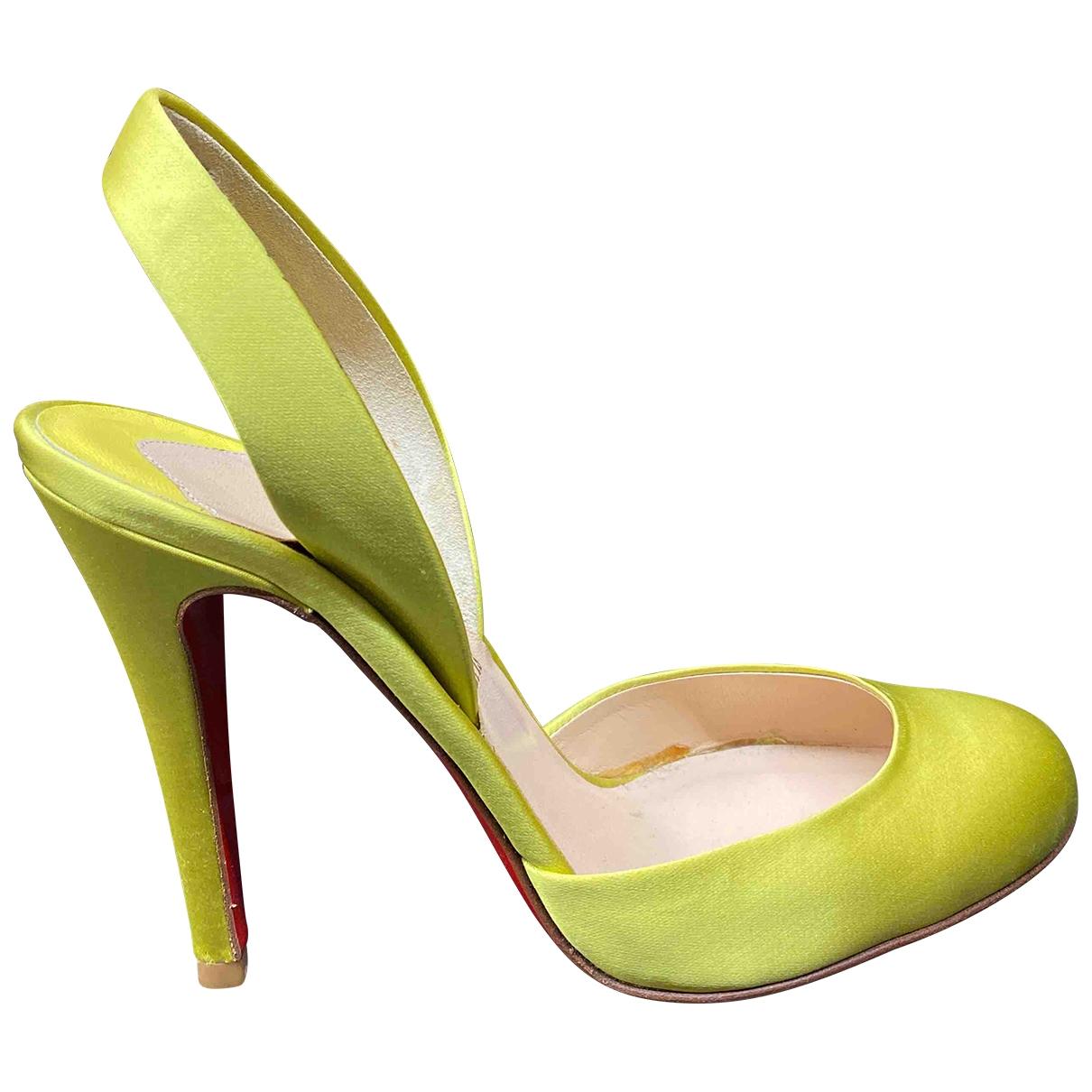 Christian Louboutin \N Yellow Cloth Heels for Women 36.5 EU