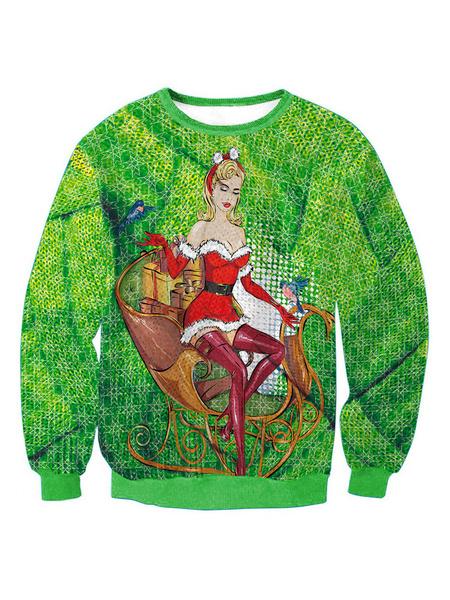Milanoo Navidad sudadera pulover de gran tamaño Tops feos Navidad