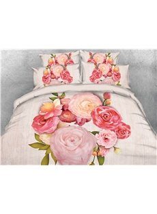 A Bouquet of Peonies Machine Washable Warm 3D Printed 5-Piece Comforter Sets