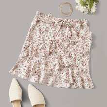 Ruffle Hem Wrap Belted Ditsy Floral Skirt