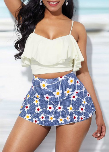 Women White Two Piece High Waisted Bathing Suit Spaghetti Strap Ruffle Overlay Top And Sky Blue Floral Printed Pantskirt Swimsuit  By Rosewe - M