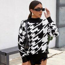 Pullover mit sehr tief angesetzter Schulterpartie und Hahnentritt Muster