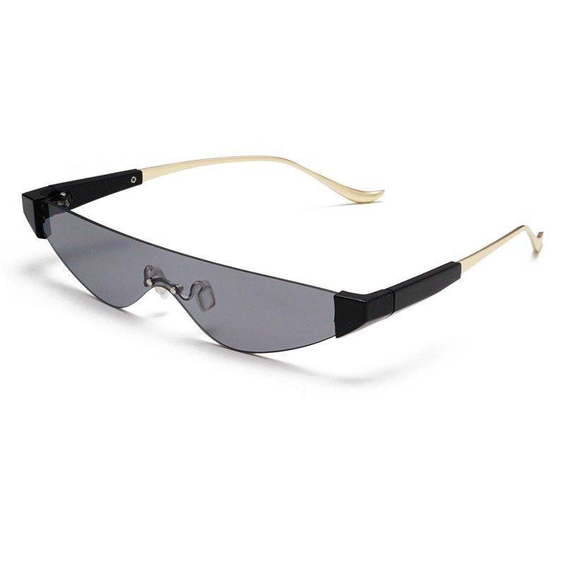 Unisex Ins Retro Cat Eye Anti-UV Metal Temple Sunglasses No-frame Vogue Sunglasses