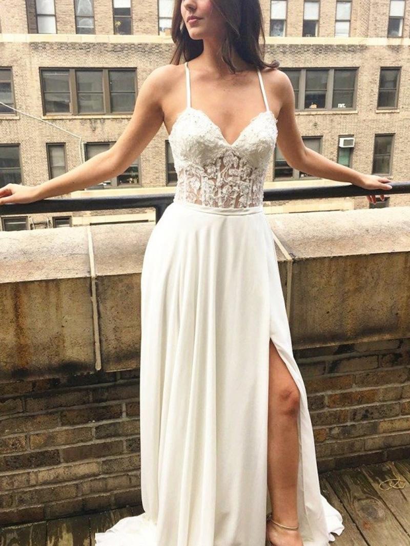 Ericdress Appliques Spaghetti Straps Beach Wedding Dress