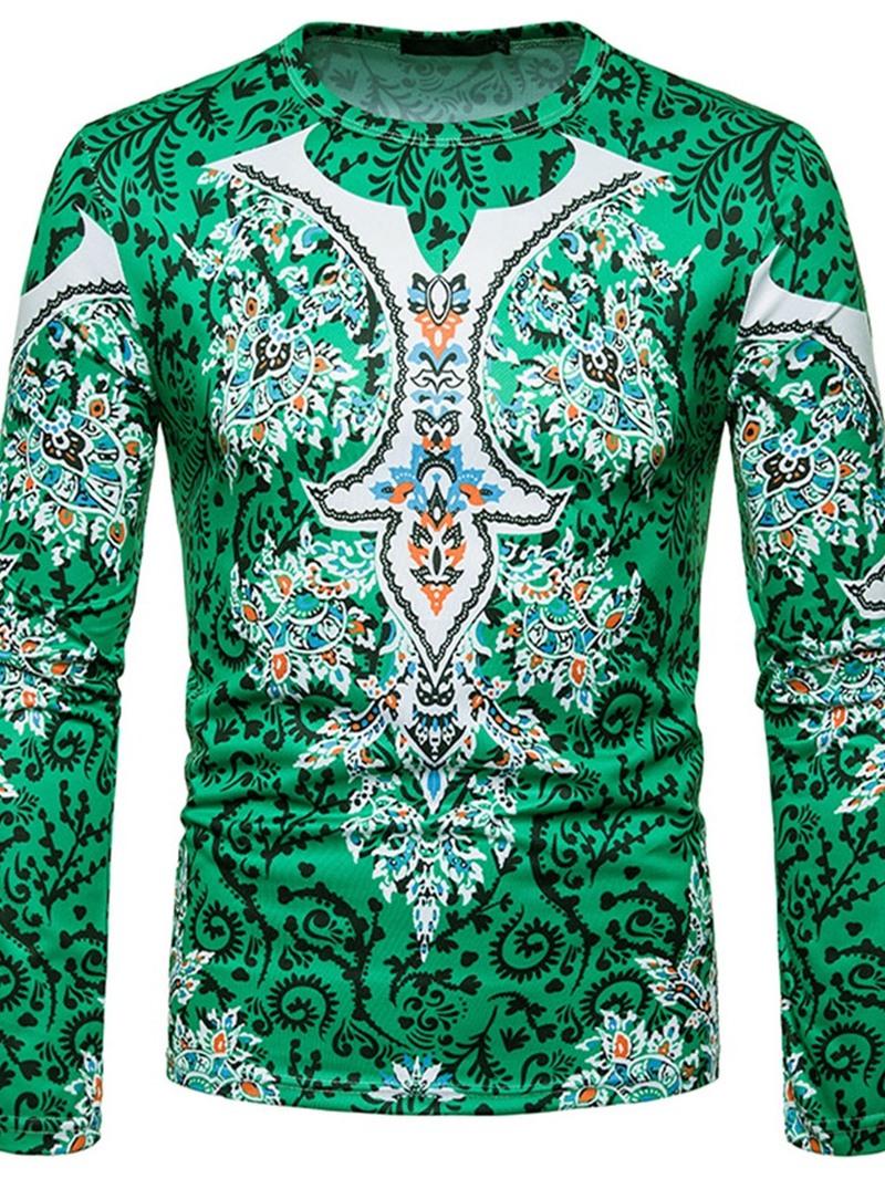 Ericdress European Print Round Neck Slim Pullover T-shirt