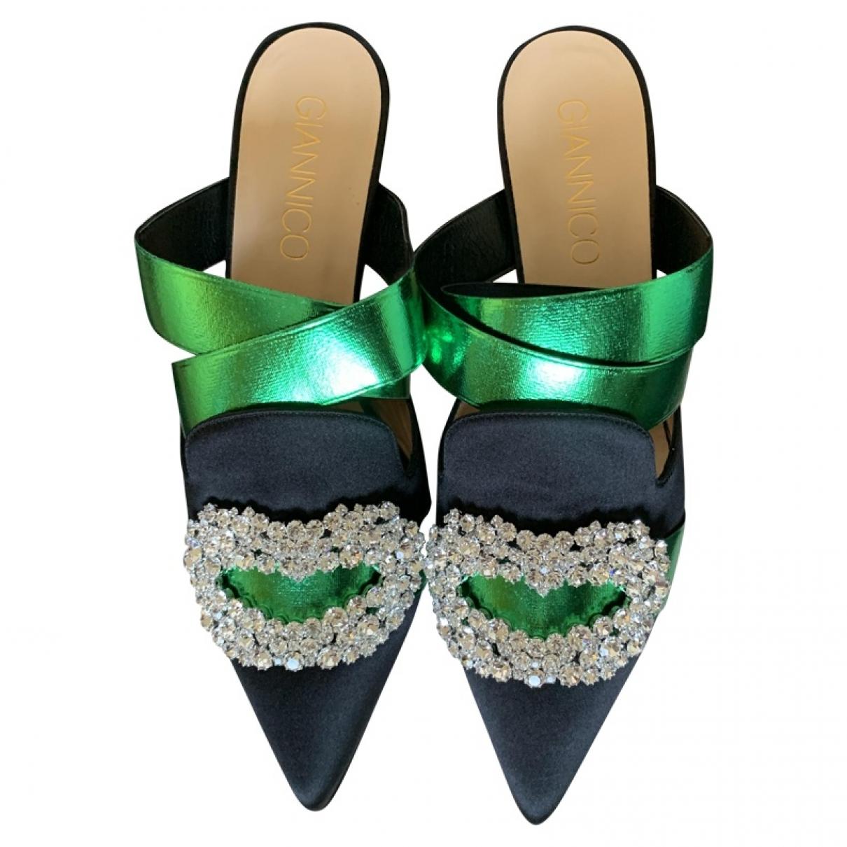 Giannico \N Black Velvet Sandals for Women 38 EU