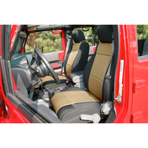 Rugged Ridge 13215.04 Seat Cover Kit, Front, Neoprene, Black/Tan; 11-18 Jeep Wrangler JK Jeep Wrangler 2011-2018
