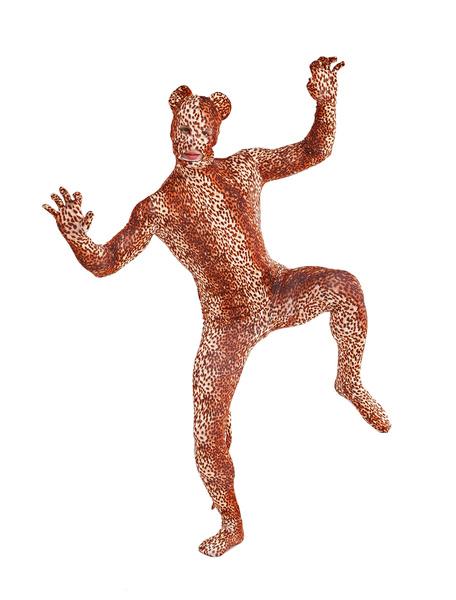 Milanoo Disfraz Halloween Lycra marron luz chic Spandex Leopard ojos abiertos Unisex Lycra Zentai animales trajes  Halloween